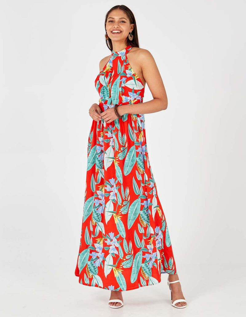 ADRIANA - High Neck Tie Back Floral Print Red Maxi Dress