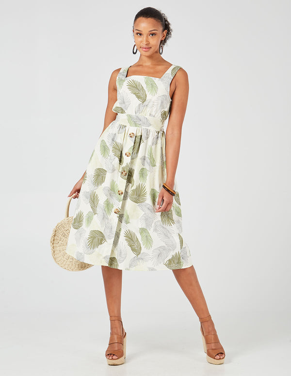 ANNESLEY - Leaf Print Tie Back Button Front Midi Dress
