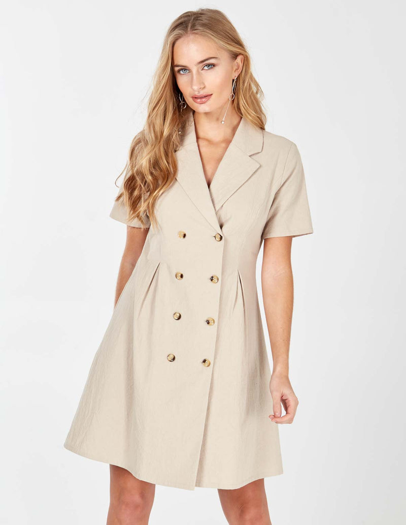 LAIA - Stone Double Breasted Safari Dress