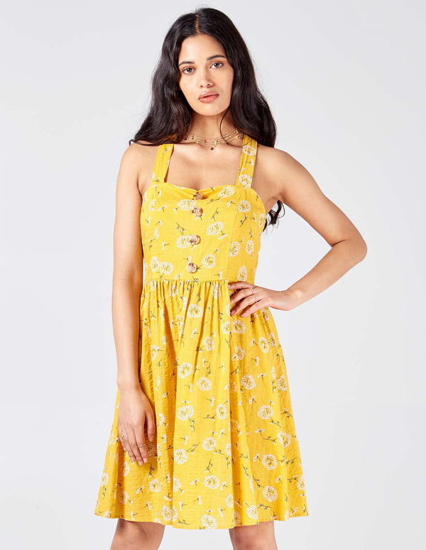 SAVEERA - Ring Back Detail Yellow Sun Dress