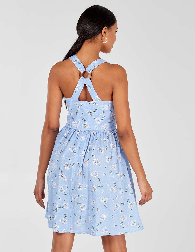 SAVEERA - Ring Back Detail Blue Sun Dress
