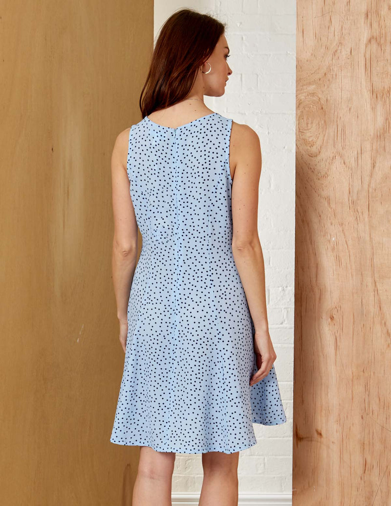 JENNIFER - Sleeveless Polka Dot Blue Fit And Flare Dress