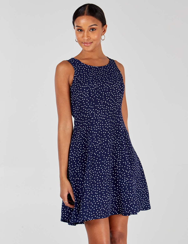 JENNIFER - Sleeveless Polka Dot Navy Fit And Flare Dress