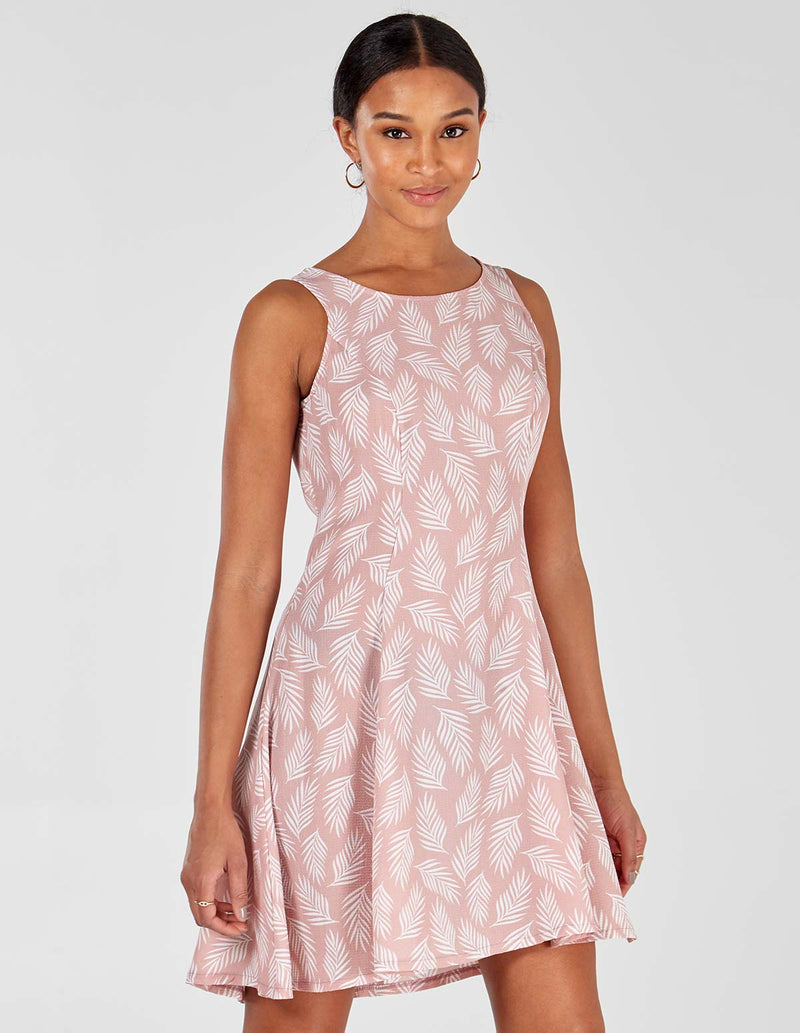CAMILA - Fit+Flare Blush Swing Dress