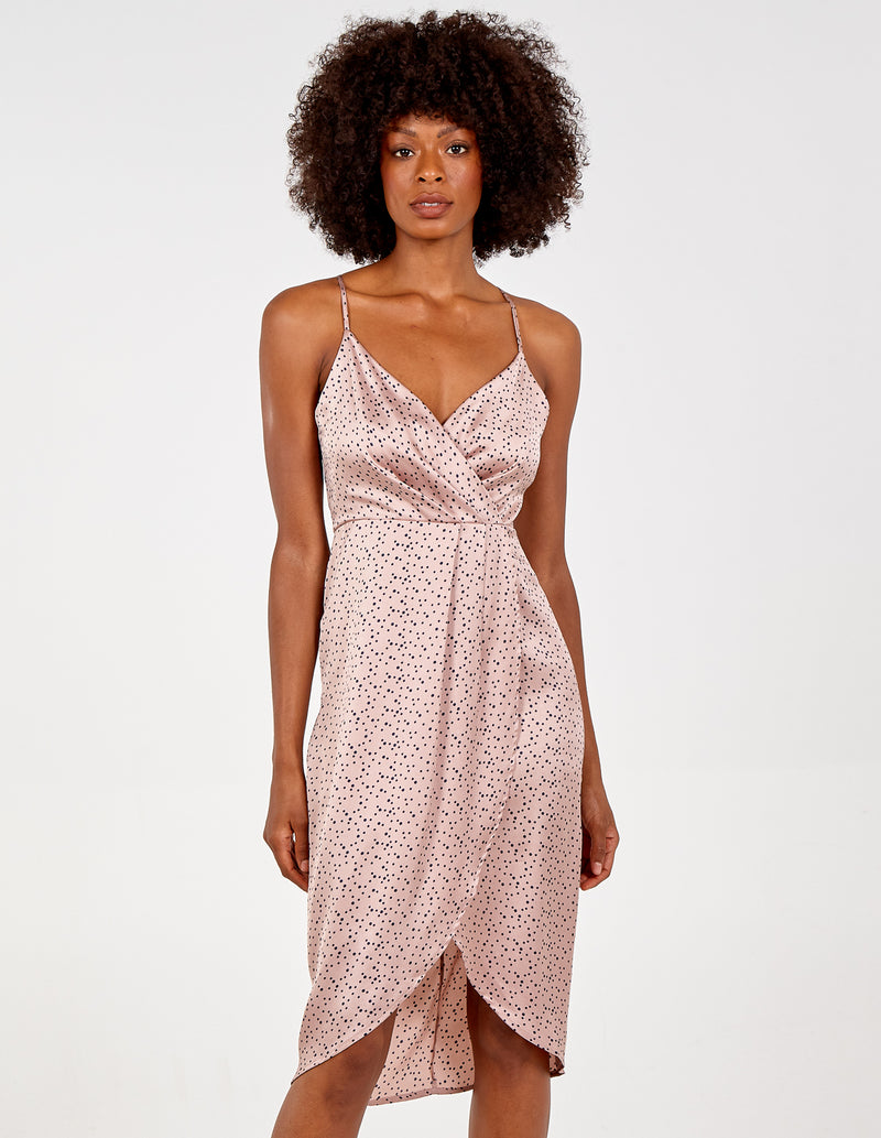 RABIA - Wrap Blush Dress With Adjustable Straps