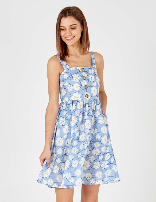MAYA - Button Front Blue Sun Dress