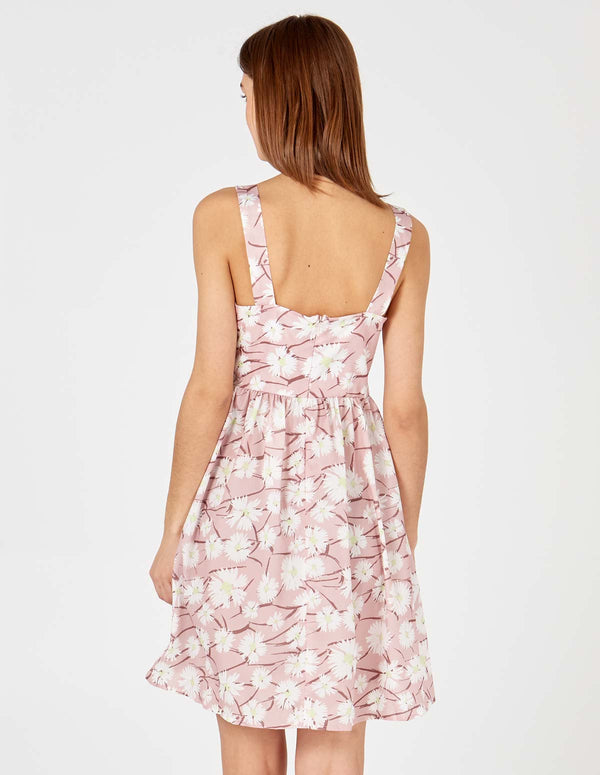 MAYA - Button Front Pink Sun Dress