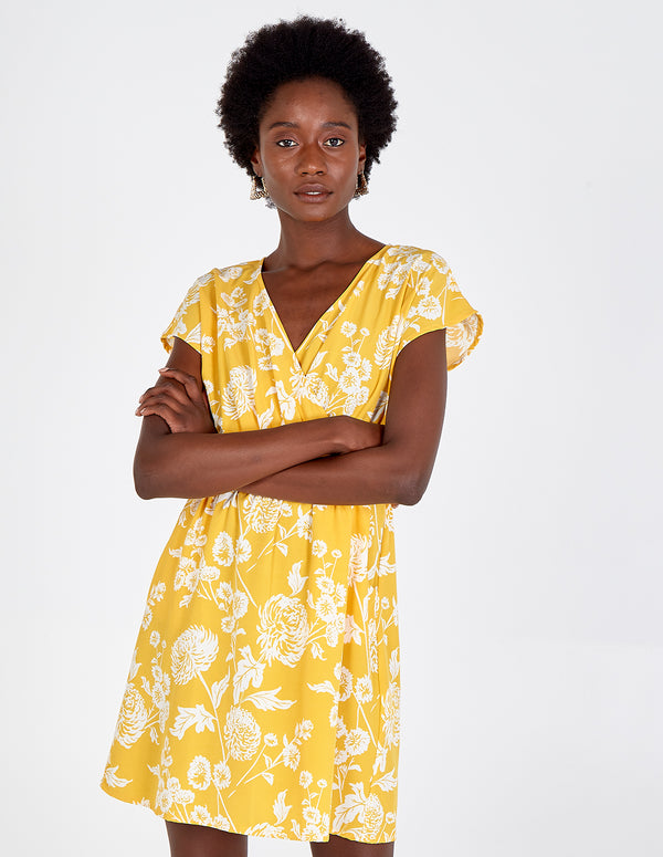 HEIDI - Yellow Wrap Front Sash Waist Dress