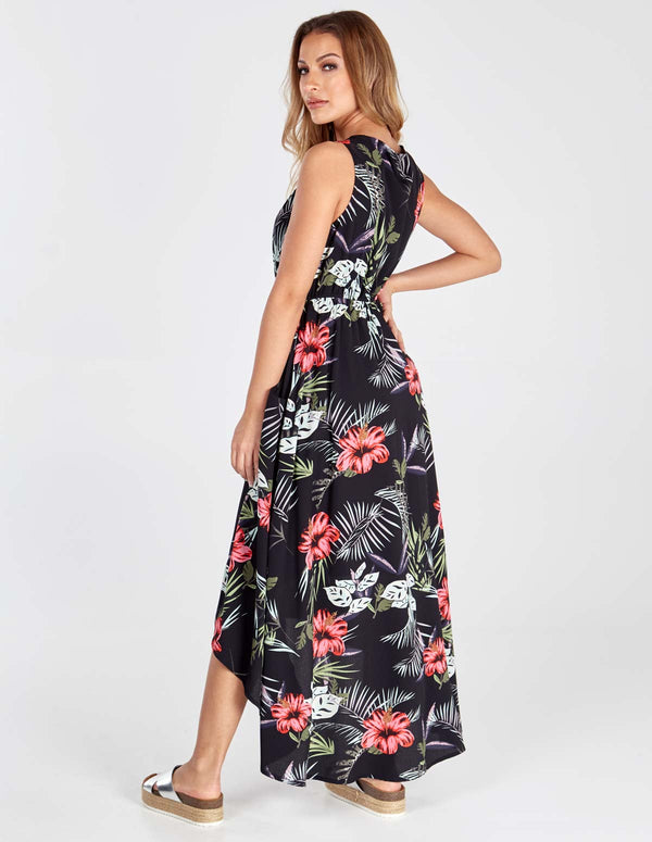 ELLA - Black Hi-low Midi Dress