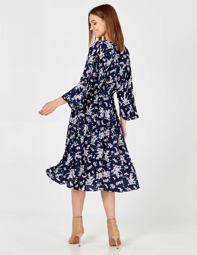 ELAINA - Floral Print Kimono Sleeve Button Front Navy Midi Dress