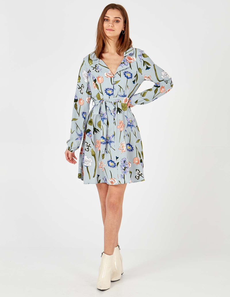 ANGELICA - Pale Blue Button Front Shirt Dress