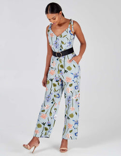 NIKKI - Pale Blue Tie Shoulder Jumpsuit