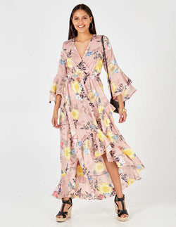 ALICIA - Floral Print Flare Sleeve Wrap Pink Maxi Dress