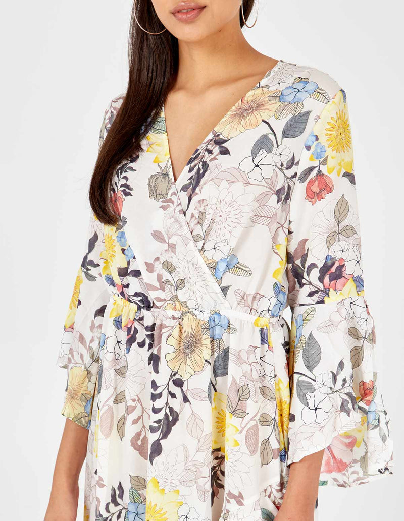 ALICIA - Floral Print Flare Sleeve Wrap White Maxi Dress