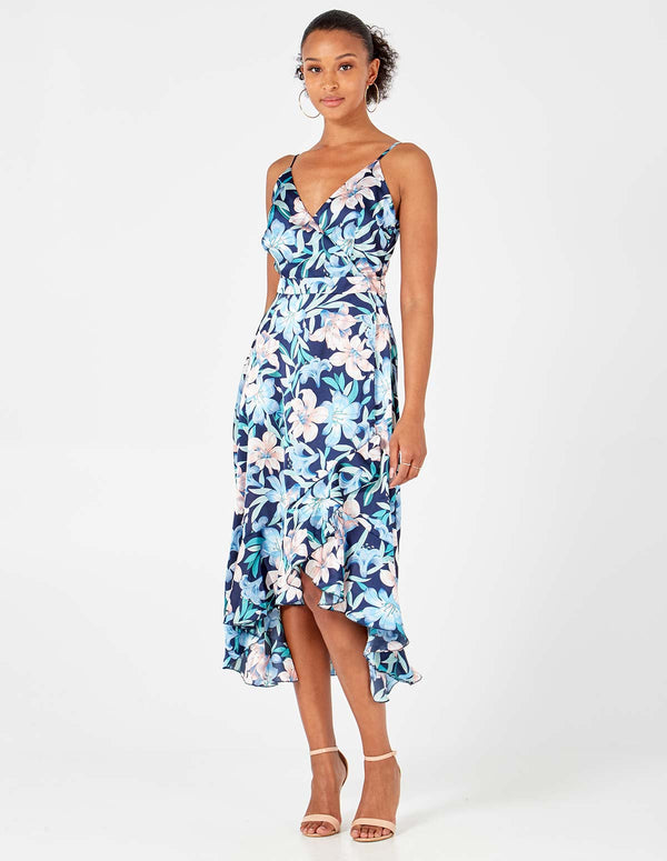 SKYLAR - Navy Hi-Low Wrap Front Dress