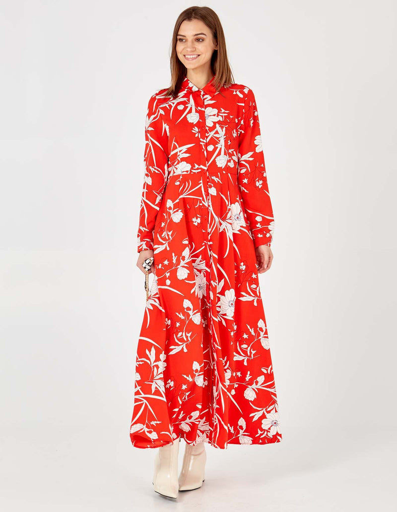 LIVIA - Long Sleeve Floral Print Red Maxi Dress