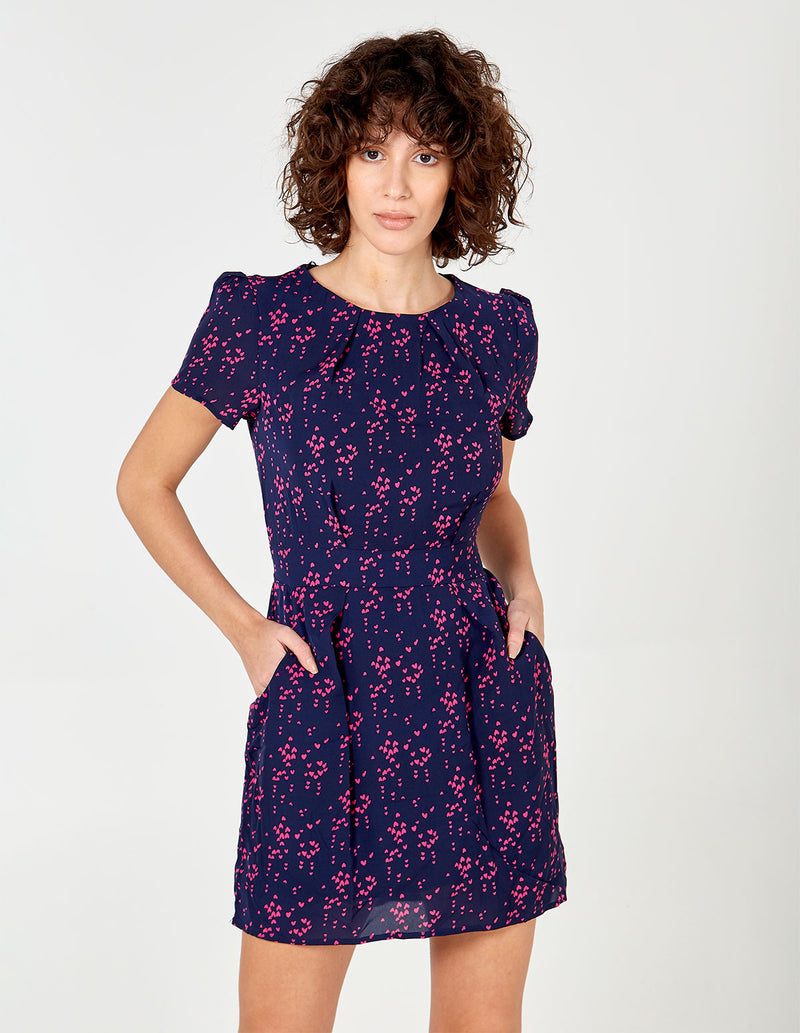 DASHA - Navy/Pink Pleat Tulip Dress