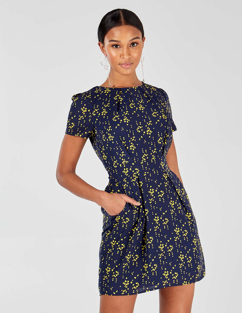 DASHA - Navy/Yellow Pleat Tulip Dress