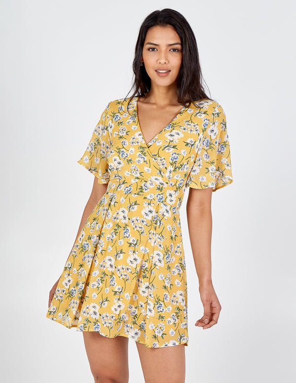 HALEY - Floral Print Wrap Tie Back Yellow Dress