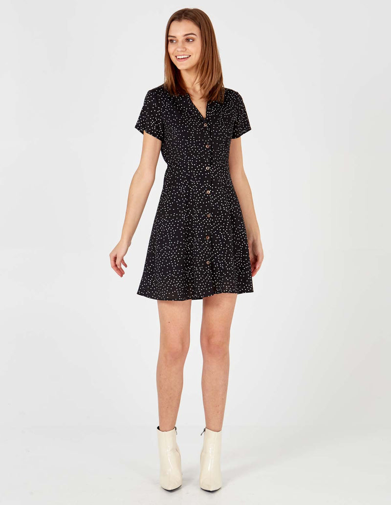 VIVIKA - Button Through Black Polka Dot Dress