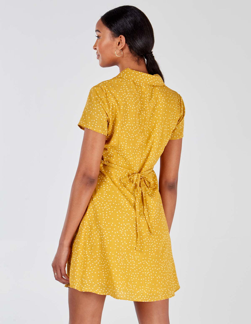 VIVIKA - Button Through Mustard Polka Dot Dress