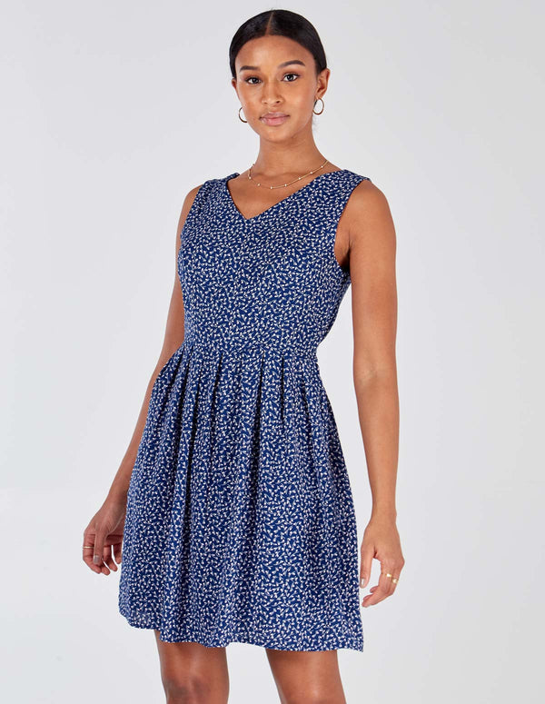 MARIANA - Double V Tie Back Navy Floral Print Dress