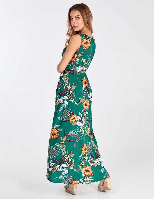 SOFIA - Green Hi-low Sleevless Midi Dress
