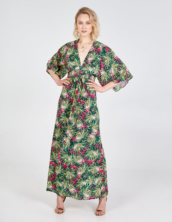 FRITHA - Tropical Print Kimono Maxi Dress