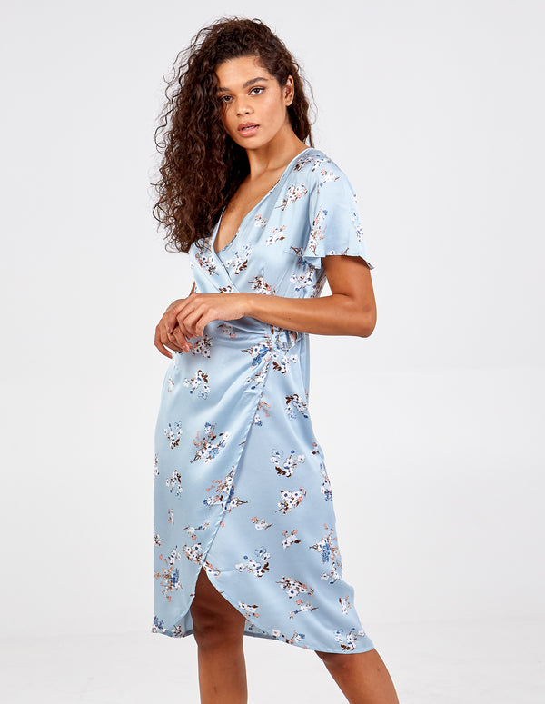 KATY - Pastel Blue Gathered Wrap Dress