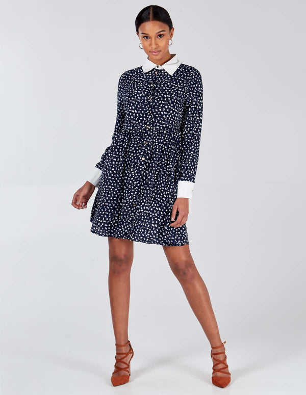 VIENNA - Polka Button Cuff & Collar Dress