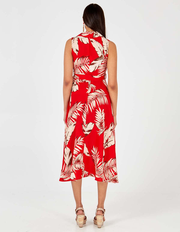 ASHLEY - Red Collar Wrap Front Midi Dress