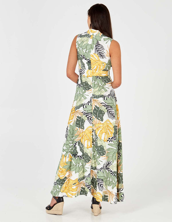 MICHELLE - Leaf Print Collar Wrap Front Green Maxi Dress