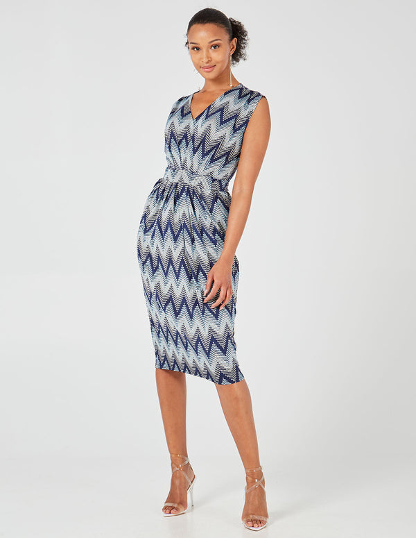 DANA - Blue Pleated Front Detail Midi Dress