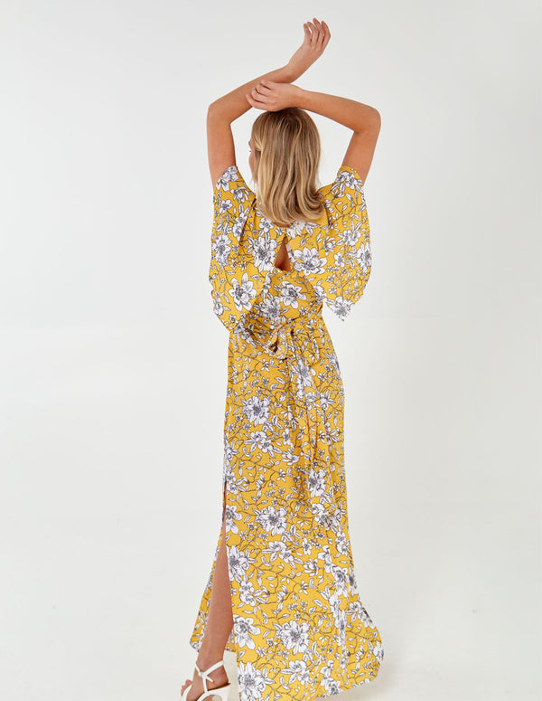 IPA - Sunflower Tie Back Wrap Maxi Yellow Dress