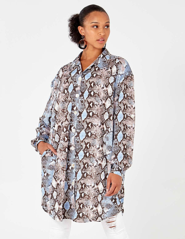 IVANNA - Blue Snake Print Button Down Shirt