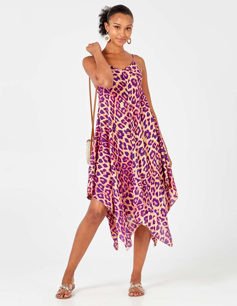 MIYA - Lilac Leopard V Neck Asymmetric Dress