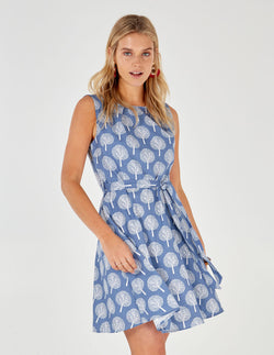SUTTON - Cornflower Blue Fit & Flare Dress