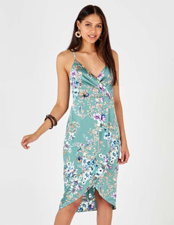 MARGOT - Floral Print Mint Pleat Detail Cami Dress
