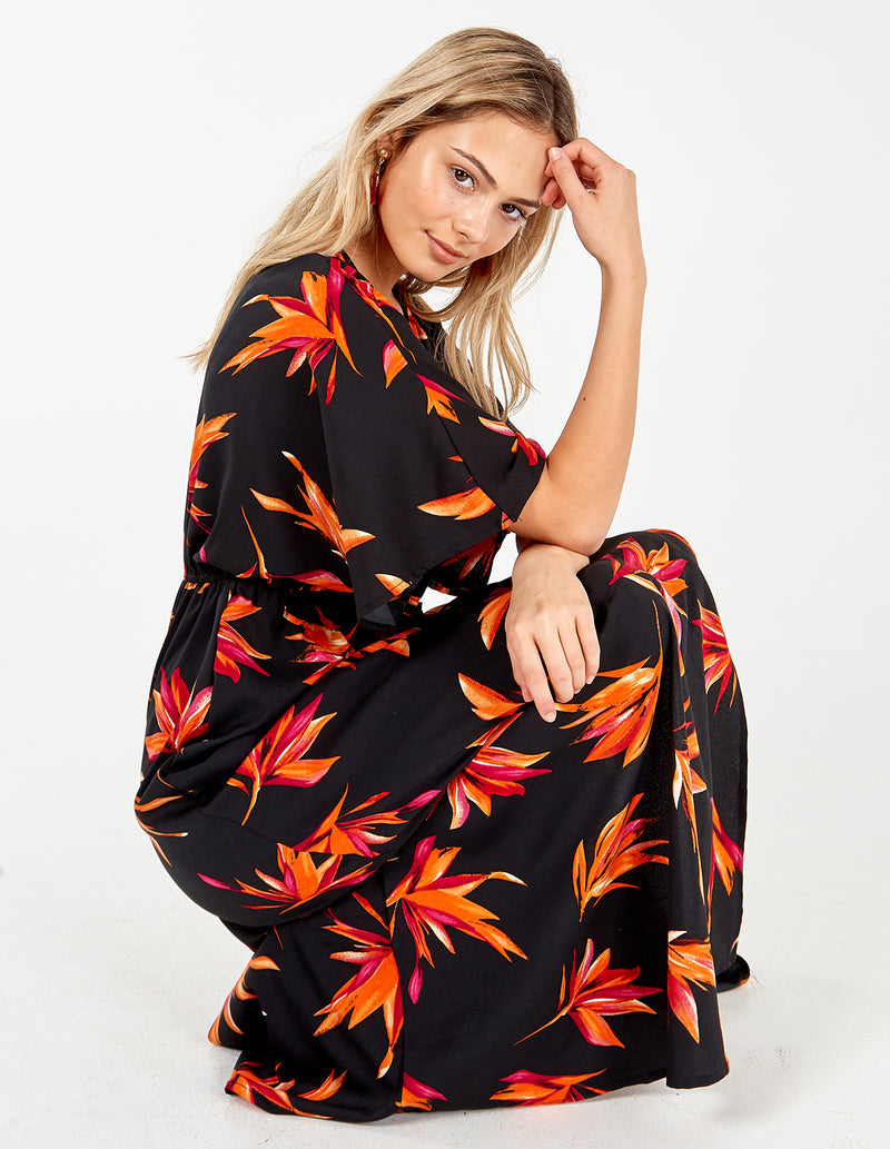 ANDRIANA - Black/orange Kimono Maxi Dress
