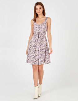 DAZI - Blush Button Through Waisted Dress