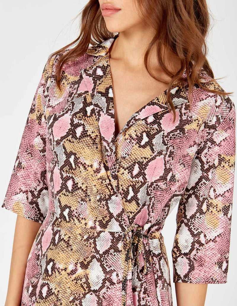 ANDI - Pink Snake Collar Wrap Dress