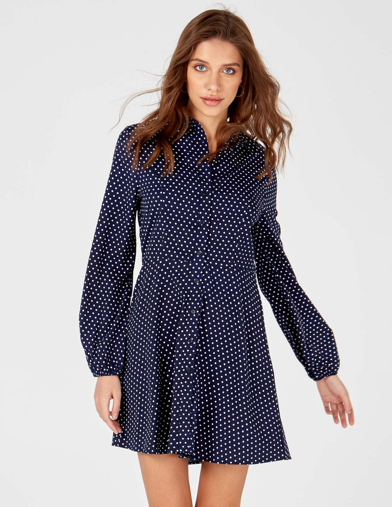 LEAH - Navy/white Spot Button Shirt Dress