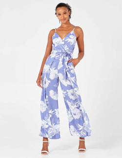 MALIAH - Blue Pleated Cami Jumpsuit
