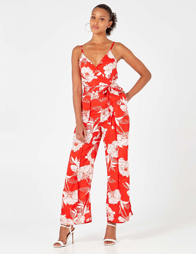 MALIAH - Red Pleated Cami Jumpsuit