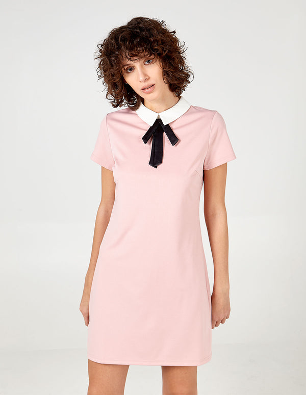 KAMALA - Collar &Bow Neck Dress