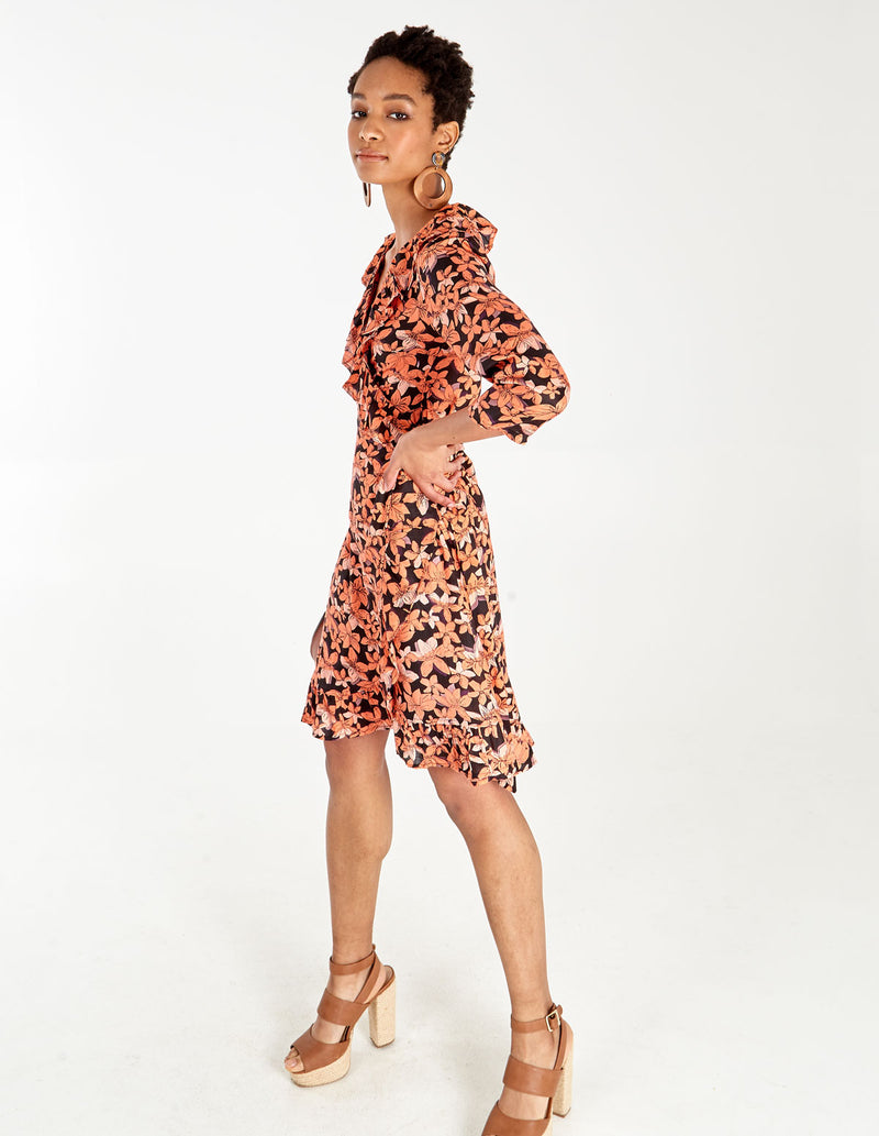 ROXY - Ruffle Frill 3/4 Sleeve Floral Wrap Dress
