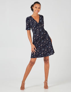 JYOTI - Navy Short Sleeve Wrap Dress