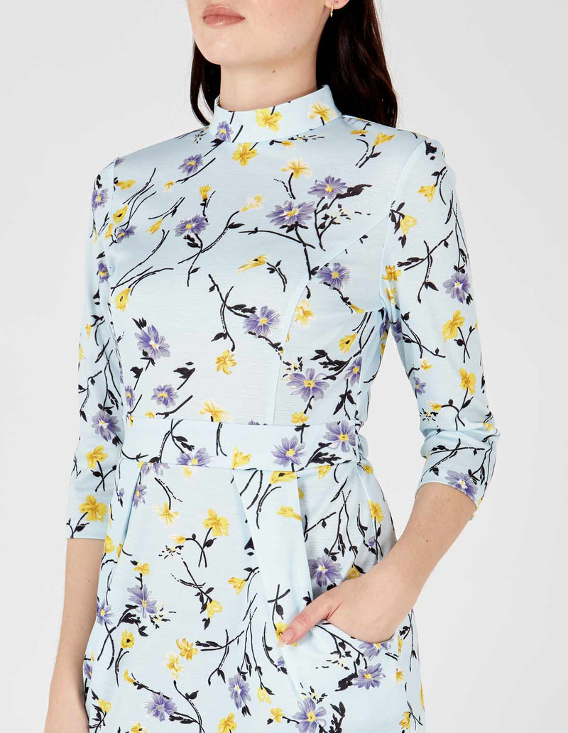 ELLY - Pale Blue High Neck 3/4th Sleeve Tulip Dress