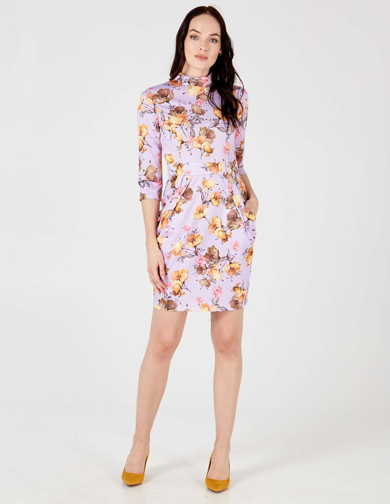 VICTORIA - Lilac High Neck Tulip Dress
