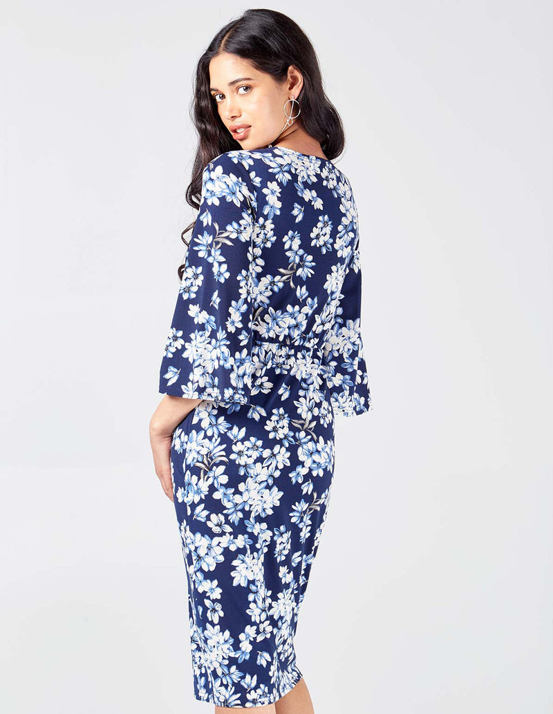 NONNIE - Twist Front Midi Floral Print Navy Dress